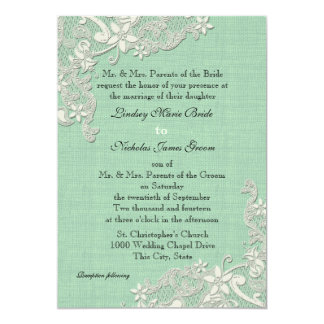 Mint and Lacey Ivory Floral 5x7 Paper Invitation Card