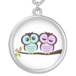 Mint and Lavender Owls Couple Silver Plated Necklace