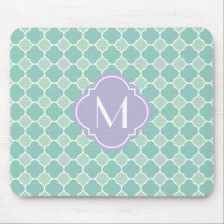 Mint and Lavender Quatrefoil Pattern with Monogram Mouse Pad