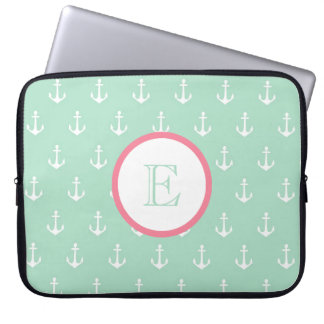Mint and Light Pink Anchor Laptop Sleeve