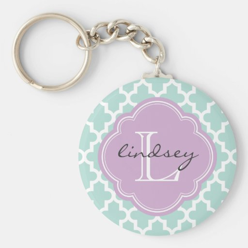 Mint and Lilac Modern Moroccan Custom Monogram Basic Round Button Keychain