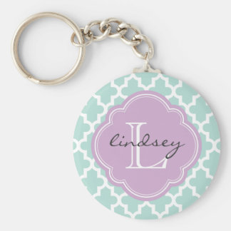 Mint and Lilac Modern Moroccan Custom Monogram Keychain