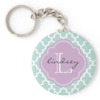 Mint and Lilac Modern Moroccan Custom Monogram Keychain