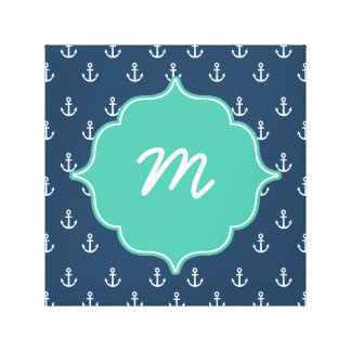 Mint and Navy Anchors Monogram Canvas Print