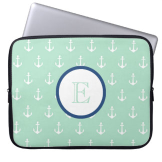 Mint and Navy Blue Anchor Laptop Sleeve