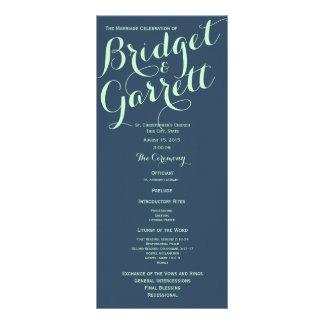Mint and Navy Blue Text Design Wedding Program