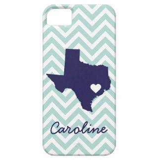 Mint and Navy Cute Texas Love Chevron Monogram iPhone SE/5/5s Case