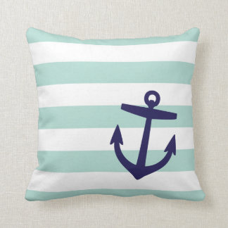 Mint and Navy Nautical Stripes and Cute Anchor Throw Pillow