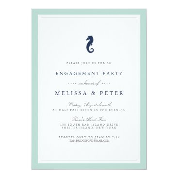 Beach Themed Mint and Navy Seahorse Engagement Party Invitation