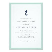 Mint and Navy Seahorse Rehearsal Dinner Invitation