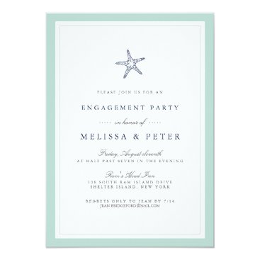 Beach Themed Mint and Navy Starfish Engagement Party Invitation