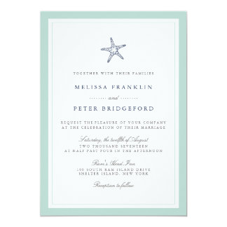 Captivating Mint And Navy Starfish Nautical Wedding Invitation