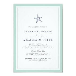Mint and Navy Starfish Rehearsal Dinner Invitation