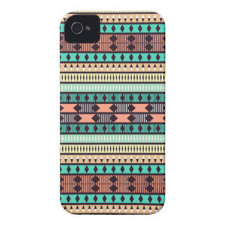 Mint and Peach Aztec Pattern iPhone 4 Case-Mate Case
