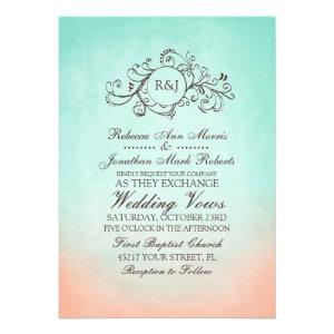Mint and Peach Bohemian Wedding Invitation