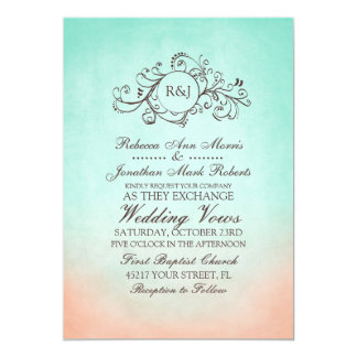 Mint and Peach Bohemian Wedding Invitation