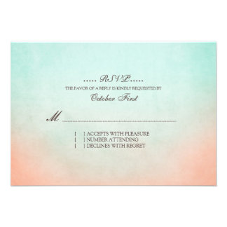 Mint and Peach Bohemian Wedding RSVP Personalized Invite