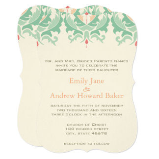 Mint and Peach Damask Wedding Invitation