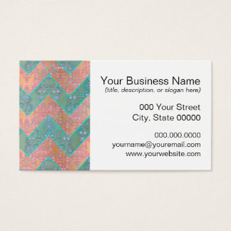 Mint and Peachy Pink Floral Damask Chevron Business Card