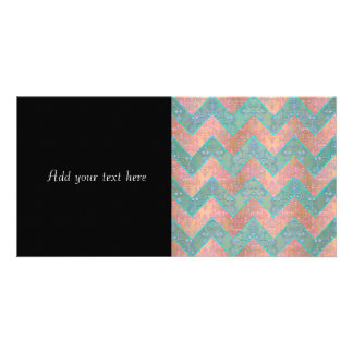 Mint and Peachy Pink Floral Damask Chevron Card