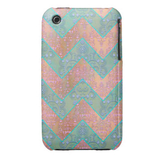 Mint and Peachy Pink Floral Damask Chevron iPhone 3 Cover