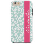 Mint and Pink Blush Monogrammed Elements Print Tough iPhone 6 Plus Case