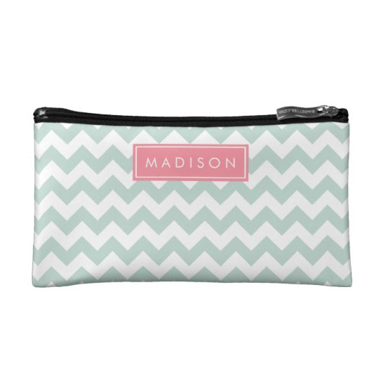 Mint and Pink Chevron Custom Monogram Cosmetic Bag