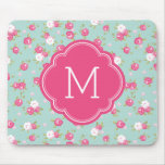 Mint and Pink Chic Vintage Floral Print Monogram Mouse Pad