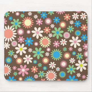 Mint and Pink Chocolate Flowers Mouse Pad