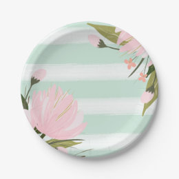 Mint and Pink Floral Paper Plate  sc 1 st  Zazzle & Mint Green Plates   Zazzle