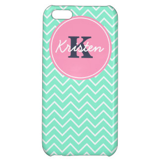 Mint and Pink, Initial, and Name Cover For iPhone 5C