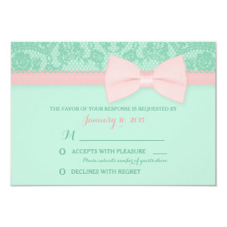 "Mint and Pink Lace Wedding RSVP 3.5"" X 5"" Invitation Card"