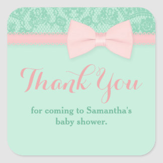 Mint and Pink Lace with Bow Baby Shower Thank You Square Sticker