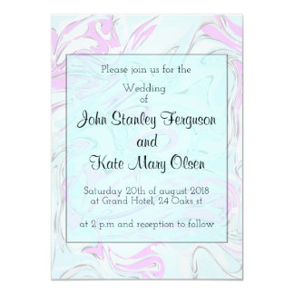 Mint and pink marbling paper design card