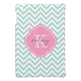 Mint and Pink Modern Chevron Custom Monogram iPad Mini Cases