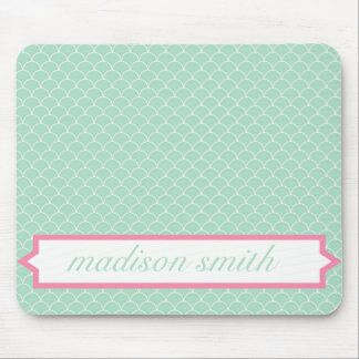 Mint and Pink Monogram Scallop Print Mousepad