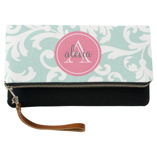 Mint and Pink Monogrammed Damask Clutch