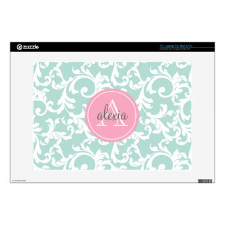 "Mint and Pink Monogrammed Damask Print 13"" Laptop Decal"