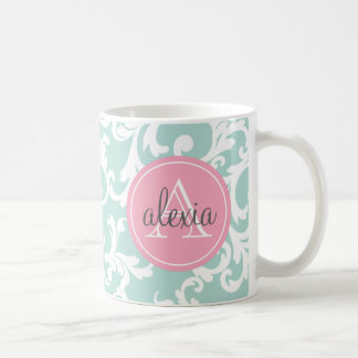 Mint and Pink Monogrammed Damask Print Coffee Mug