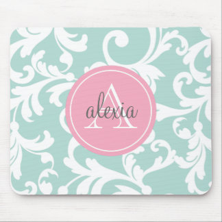 Mint and Pink Monogrammed Damask Print Mouse Pad