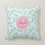 Mint and Pink Monogrammed Damask Print Pillows