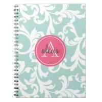 Mint and Pink Monogrammed Damask Print Spiral Notebook