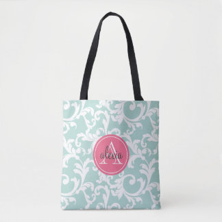 Mint and Pink Monogrammed Damask Tote Bag
