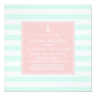 Mint and Pink Nautical Baby Shower Invitation