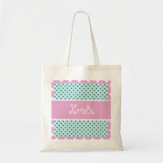 Mint and Pink Polka Dots Bride or Bridesmaid V34 Tote Bag