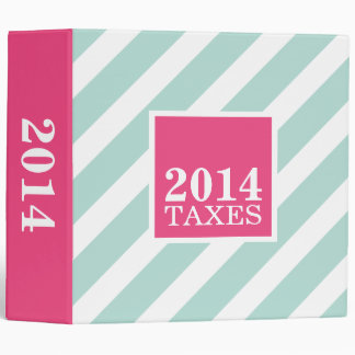 Mint and Pink Preppy Stripes Tax File Binder