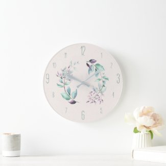 Mint and Plum Leaves Contemporary Wall Clock