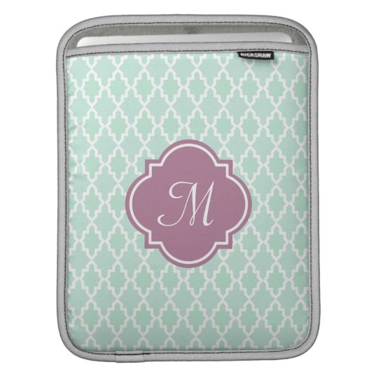 Mint and Plum Moroccan Monogram Sleeve For iPads