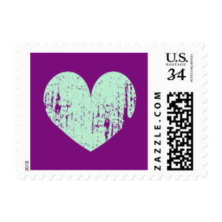Mint and purple vintage rustic heart wedding stamp