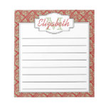 Mint and Red Monogram Tree of Life Pattern Note Pads